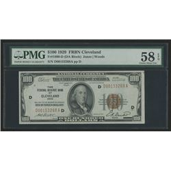 1929 $100 One Hundred Dollars U.S. National Currency Bank Note - The Federal Reserve Bank of Clevela