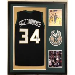 Giannis Antetokounmpo Signed 34x42 Custom Framed Jersey (JSA COA)