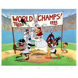 "Charles McKimson Signed AP Warner Bros. ""World Champs"" 14x17 Animation Cel (Toon Art, Inc. COA)"