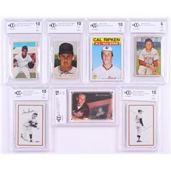 Lot of (7) Beckett BCCG Graded Baseball Cards with 1978 Landsman Playing Cards #NNO Mickey Mantle (B
