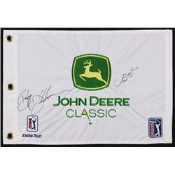 Bryson Dechambeau  Jordan Spieth Signed John Deere Classic PGA Golf Pin Flag (JSA LOA)