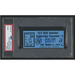 Larry Bird Signed 1979 NCAA Basketball Tournament Second Round Ticket Stub (PSA Encapsulated)