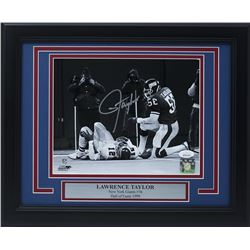 Lawrence Taylor Signed New York Giants 11x14 Custom Framed Photo Display (JSA COA)
