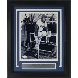 Duke Snider Signed Los Angeles Dodgers 11x14 Custom Framed Photo Display (JSA COA)