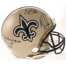 Mark Ingram, Marshon Lattimore  Marcus Davenport Signed New Orleans Saints Full-Size Authentic On-Fi
