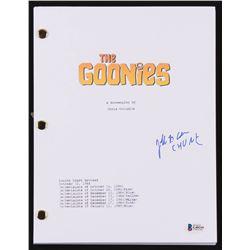 "Jeff Cohen Signed ""The Goonies"" Movie Script Inscribed ""Chunk"" (Beckett COA)"