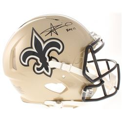 """Alvin Kamara Signed New Orleans Saints Full-Size Authentic On-Field Speed Helmet Inscribed """"ROY 17"""""""