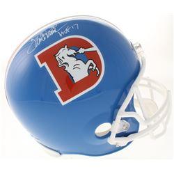 """Terrell Davis Signed Denver Broncos Full-Size Throwback Helmet Inscribed """"HOF 17"""" (Radtke COA)"""