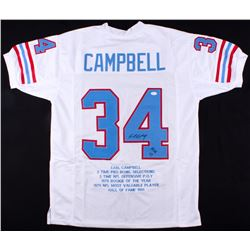 """Earl Campbell Signed Career Highlight Stat Jersey Inscribed """"HOF 91"""" (JSA COA)"""
