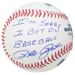 Pete Rose Signed OML Baseball Inscribed  I'm Sorry I Bet On Baseball  (JSA COA)