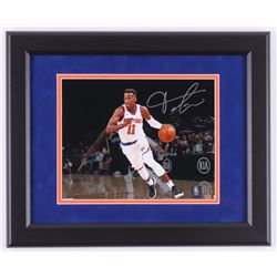 Frank Ntilikina Signed New York Knicks 13.5x16.5 Custom Framed Photo Display (Steiner Hologram)