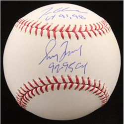 "Tom Glavine  Greg Maddux Signed OML Baseball Inscribed ""CY 91, 98""  ""92-95 CY"" (Radtke COA)"
