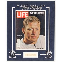 "Mickey Mantle Signed New York Yankees ""The Mick"" 16x20 Custom Framed Cut Display With Magazine (Beck"