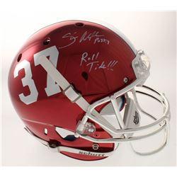 """Shaun Alexander Signed Alabama Crimson Tide Full-Size Chrome Helmet Inscribed """"Roll Tide!!!"""" (Becket"""