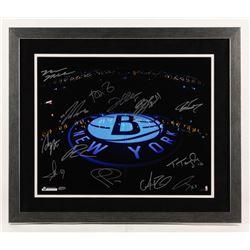 Brooklyn Nets 22x26 Custom Framed Photo Signed By (13) with Tyshawn Taylor, Andrei Kirilenko, Andray