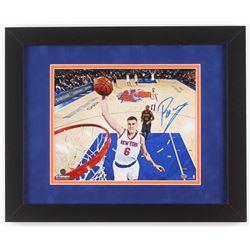 Kristaps Porzingis Signed New York Knicks 13x16 Custom Framed Photo Display (Steiner Hologram)
