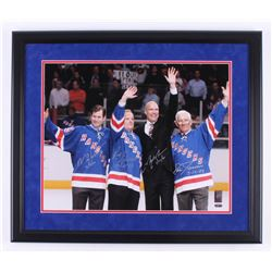 Mark Messier, Mike Richter, Eddie Giacomin,  Rod Gilbert Signed New York Rangers 22x26 Custom Framed