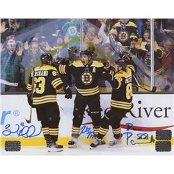 Brad Marchand, Patrice Bergeron  David Pastrnak Signed Boston Bruins 8x10 Photo (Marchand, Bergeron