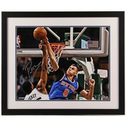 Kristaps Porzingis Signed New York Knicks 22x26 Custom Framed Photo (Steiner COA)