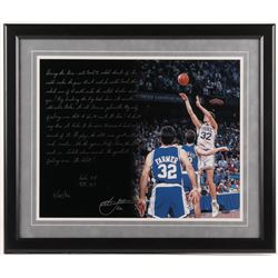 Christian Laettner Signed New York Knicks 22x26 Custom Framed Photo with Extensive Inscription (Stei