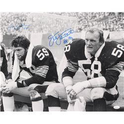"Jack Lambert  Jack Ham Signed Pittsburgh Steelers 16x20 Photo Inscribed ""HOF '90""  ""HOF 88"" (JSA COA"