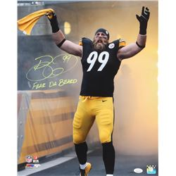 "Brett Keisel Signed Pittsburgh Steelers 16x20 Photo Inscribed ""Fear Da Beard"" (JSA COA)"