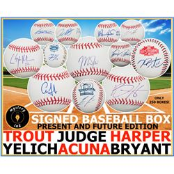 Mystery Ink Present And Future Baseball Box! 1 Current Star or Top Prospect Signed Baseball In Every