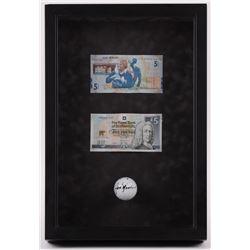 Jack Nicklaus Signed 11.5x17x3 Custom Framed Shadowbox Golfball Display with (2) Bills (Beckett LOA)