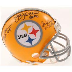 "Andy Russell, Jack Lambert  Jack Ham Signed Pittsburgh Steelers Mini-Helmet Inscribed ""7x Pro Bowl"","