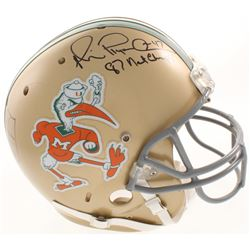 """Michael Irvin  Jim Kelly Signed Miami Hurricanes Full-Size Authentic On-Field Helmet Inscribed """"87 N"""