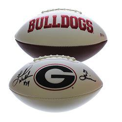 """Herschel Walker Signed Georgia Bulldogs Logo Football Inscribed """"82 Heisman"""" (Beckett COA)"""