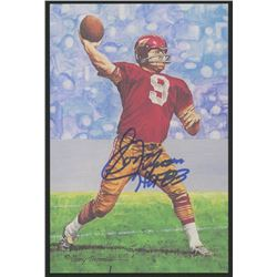 Sonny Jurgensen Signed 1991 LE Washington Redskins 4x6 Pro Football Hall of Fame Art Collection Card