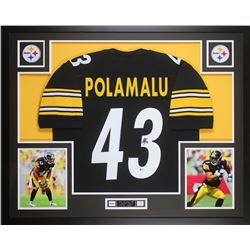 Troy Polamalu Signed 35x43 Custom Framed Jersey (Beckett COA)
