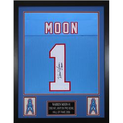 Warren Moon Signed 24x30 Custom Framed Jersey (JSA COA)