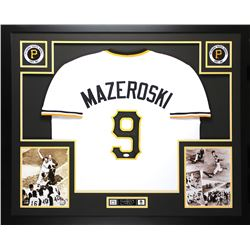 Bill Mazeroski Signed 35x43 Custom Framed Jersey (JSA COA)