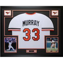 """Eddie Murray Signed 35x43 Custom Framed Jersey Inscribed """"HOF 2003"""" (Beckett COA)"""