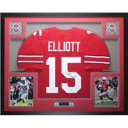 Ezekiel Elliott Signed 35x43 Custom Framed Jersey (JSA COA)