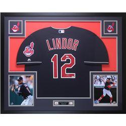 Francisco Lindor Signed Cleveland Indians 35x43 Custom Framed Jersey (Fanatics  MLB Holgoram)