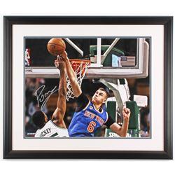 Kristaps Porzingis Signed New York Knicks 22x26 Custom Framed Photo (Steiner COA)