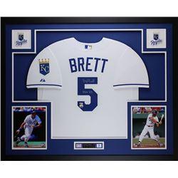 """George Brett Signed Kansas City Royals 35x43 Custom Framed Jersey Inscribed """"HOF 99"""" (Fanatics  MLB"""