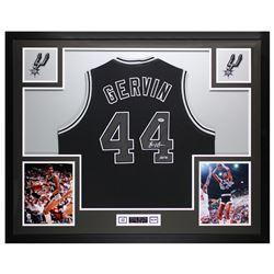 """George Gervin Signed 35x43 Custom Framed Jersey Inscribed """"HOF 96"""" (PSA COA)"""