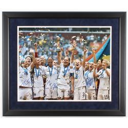 2015 Team USA Women's World Cup 22x26 Custom Framed Photo Signed by (4) with Christie Pearce, Kelley