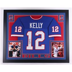 Jim Kelly Signed 35x43 Custom Framed Jersey (JSA COA)