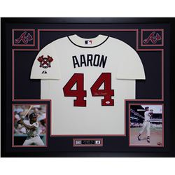 Hank Aaron Signed Atlanta Braves 35x43 Custom Framed Jersey (JSA COA)
