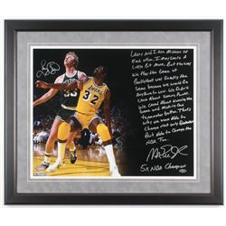Larry Bird  Magic Johnson Signed 22x26 Custom Framed Photo with Extensive Inscription (Steiner COA)