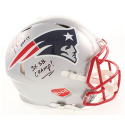 """Ty Law Signed New England Patriots Full-Size Authentic On-Field Speed Helmet Inscribed """"HOF 19""""  """"3x"""
