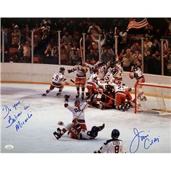 """Jim Craig Signed Team USA """"Miracle on Ice"""" 16x20 Photo Inscribed """"Do you Believe in Miracles"""" (JSA C"""