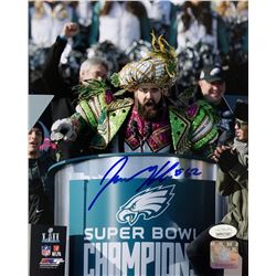 Jason Kelce Signed Philadelphia Eagles Super Bowl 52 LII Parade 8x10 Photo (JSA COA)