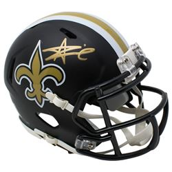 Alvin Kamara Signed New Orleans Saints Matte Black Speed Mini Helmet (JSA COA)