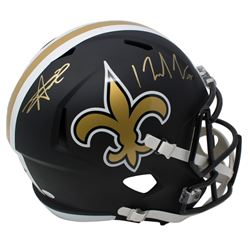 Alvin Kamara  Michael Thomas Signed New Orleans Saints Full-Size Matte Black Speed Helmet (JSA COA)